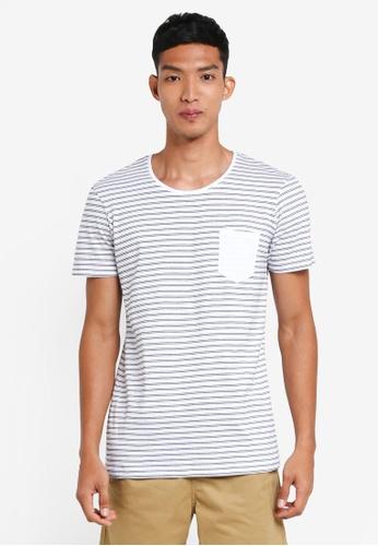 Cotton On 黑色 and 白色 短袖條紋口袋T恤 45C9EAAB78FBD0GS_1