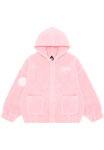 Mini cream pink Always Wild fuzzy zip hoodie 9B8CEAAB939C9FGS_1