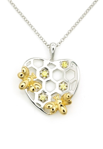 MBLife silver 925 Sterling Silver Yellow CZ Honeycomb and Bee Heart Shape Pendant Necklace E1F75ACA40C734GS_1