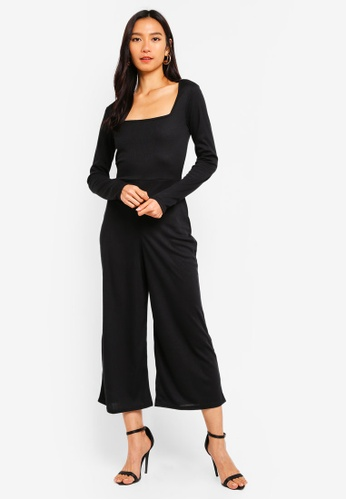 b0fdee5bfbe8 Shop MISSGUIDED Square Neck Rib Culotte Jumpsuit Online on ZALORA ...
