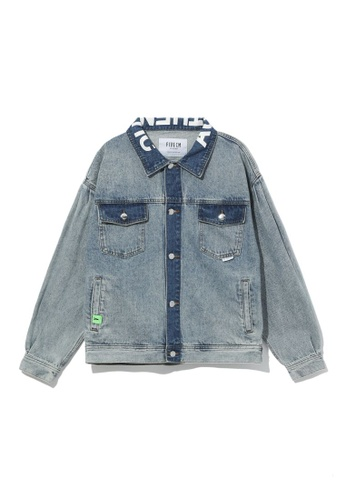 Fivecm blue Contrast trim denim jacket 1946BAAF24BC71GS_1