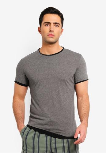 OVS 灰色 Faux 層次棉 T恤 8EF1DAAC39C691GS_1