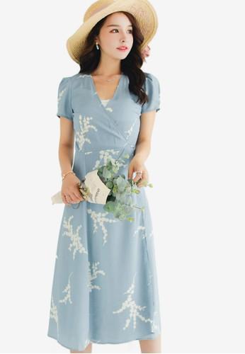 Shopsfashion blue Printed Midi Flare Dress 0149CAA8E2C86CGS_1