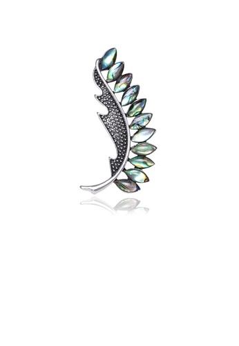 Glamorousky silver Fashion Elegant Floral Shell Brooch 8995DACA5341DBGS_1