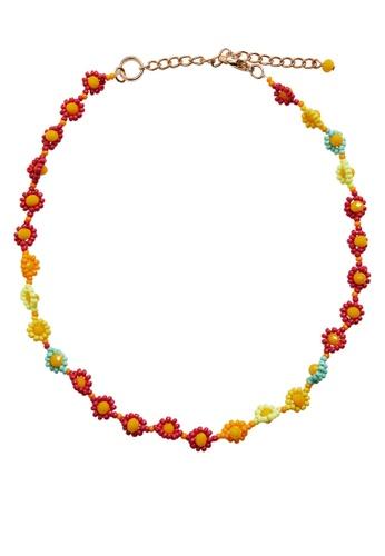MANGO KIDS orange Flower Beads Necklace EFB8DKC9D73478GS_1