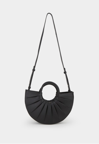 Pomelo black Pleated Top Handle Crossbody Bag - Black 0DF28AC61A45A6GS_1