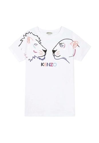 KENZO KIDS white and multi KENZO GIRLS DRESS E0093KA4A3A9A6GS_1