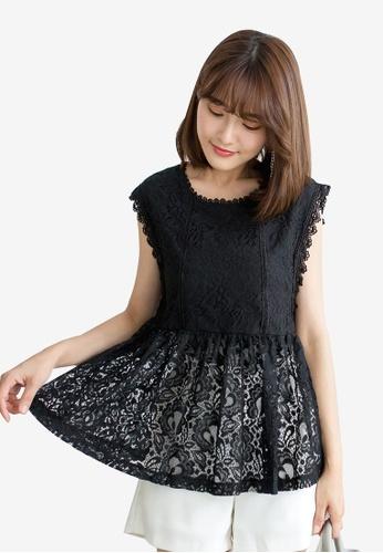 Tokichoi black Lace Overlay Blouse EA779AA89F8590GS_1