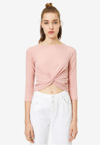 KOTON pink Knot Detail T-Shirt EA81BAAE19BBABGS_1