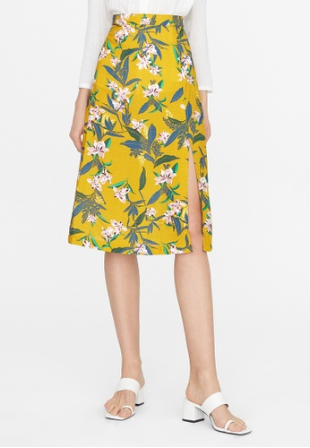 Pomelo yellow Front Slit A Line Skirt - Yellow B3FC9AAECC5CF3GS_1