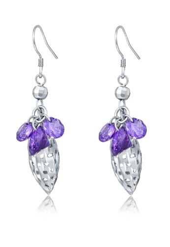 MBLife silver 925 Sterling Silver Purple CZ Dangling Earrings 0D1CCAC6B8A452GS_1