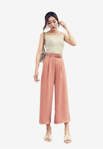 Lara pink Women's Wide Leg Calf-Length Pants F43C9AA7D0E7A0GS_1