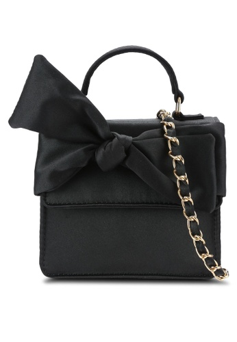 Velvet black Ribbon Flap Top Handle Bag 4CC32AC78F4801GS_1