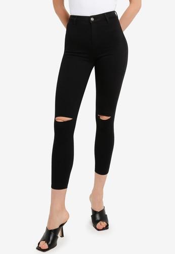 TOPSHOP black Black Rip Belt Loop Joni Skinny Jeans 74B52AAB2A637AGS_1