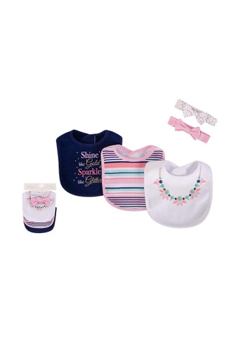 Little Kooma white and pink and blue Baby Bibs & Headwraps Set 5pc 75525 - 0821 32CEBKC0F2EE90GS_1