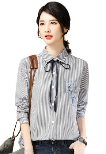 A-IN GIRLS grey and white Fashion Embroidered Striped Shirt 5188CAA2EA6B9EGS_1
