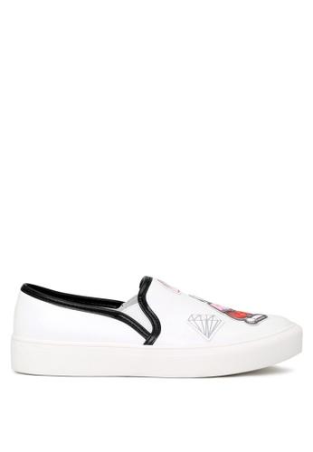 London Rag 白色 London Rag时尚俏皮欧美涂鸦风单鞋平底鞋 4BA19SHD8C833CGS_1