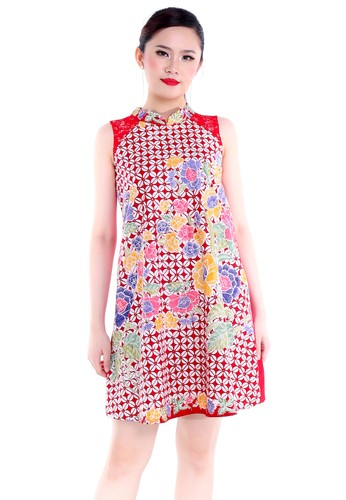 DhieVine Batik red and multi Kawung Merah Qipao Dress Cheongsam 65B41AA141E934GS_1
