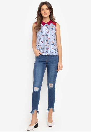 5ea177dbf2d03 Shop Kamiseta Gavionne Butterfly Blouse With Lace and Keyhole Online on ZALORA  Philippines