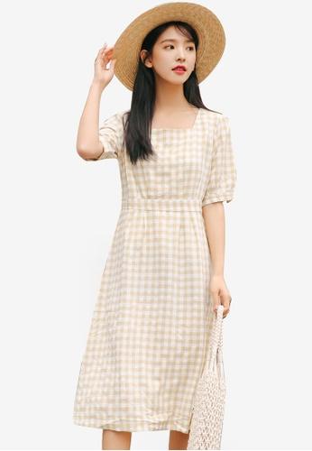 Shopsfashion yellow Checkered Midi Dress 72CECAAB99425AGS_1