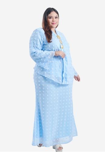CURVA FABULOUS blue Misha 3D Embroidered Kurung F629CAAD89EAFDGS_1