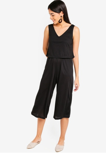 ZALORA black Basic Double Layer Jumpsuit 997A7AAE894F42GS_1