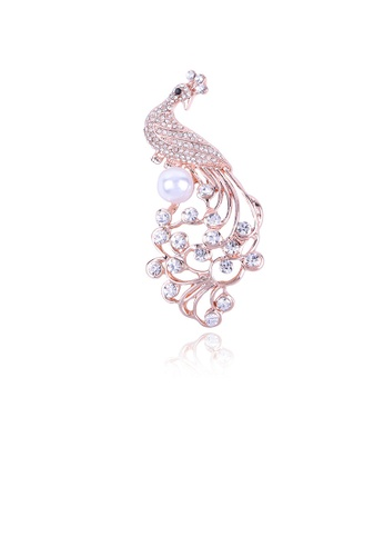 Glamorousky white Fashion and Elegant Plated Gold Peacock Imitation Pearl Brooch with Cubic Zirconia 9F845AC07CDF32GS_1