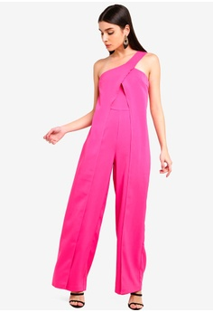 7bcd5adcfd Lavish Alice pink One Shoulder Wrap Over Wide Leg Jumpsuit  08CC9AA5F761A1GS 1