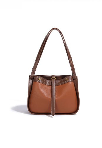 Twenty Eight Shoes brown Chic Color Matching Faux Leather Shoulder Bag JW FB-6856 F47BEAC7D14C77GS_1