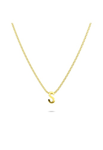 Bullion Gold gold BULLION GOLD Initials Brick Alphabet Letter Necklace Gold Layered Steel Jewellery  - S A7E4CAC32286B8GS_1