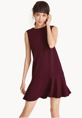 Pomelo red Mini Sleeveless Flounce Hem Dress - Red A07A9AADFD2D88GS_1