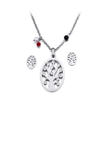 Glamorousky white Fashion and Simple Tree Of Life Geometric Oval 316L Stainless Steel Necklace and Stud Earrings Set with Cubic Zirconia B72C0ACBAED36FGS_1
