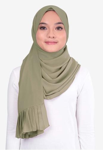 UMMA 綠色 褶飾雪紡絲巾 EDD5CAA02C4F7FGS_1