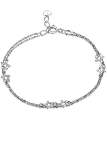 MaBelle silver 14K 585 White Gold Diamond Cut Star Double Chain Bracelet 64F74AC7E71107GS_1