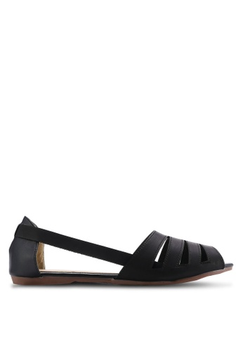kiki black Burnished Faux Leather Flats KI061SH67SGMMY_1
