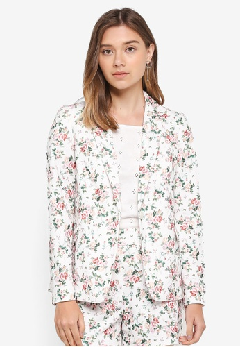 Dorothy Perkins white Ivory Floral Blazer D428BAA7F9D167GS_1