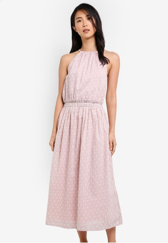 ZALORA pink Halter Neck Midi Dress 88EC5AAEC38B8CGS_1