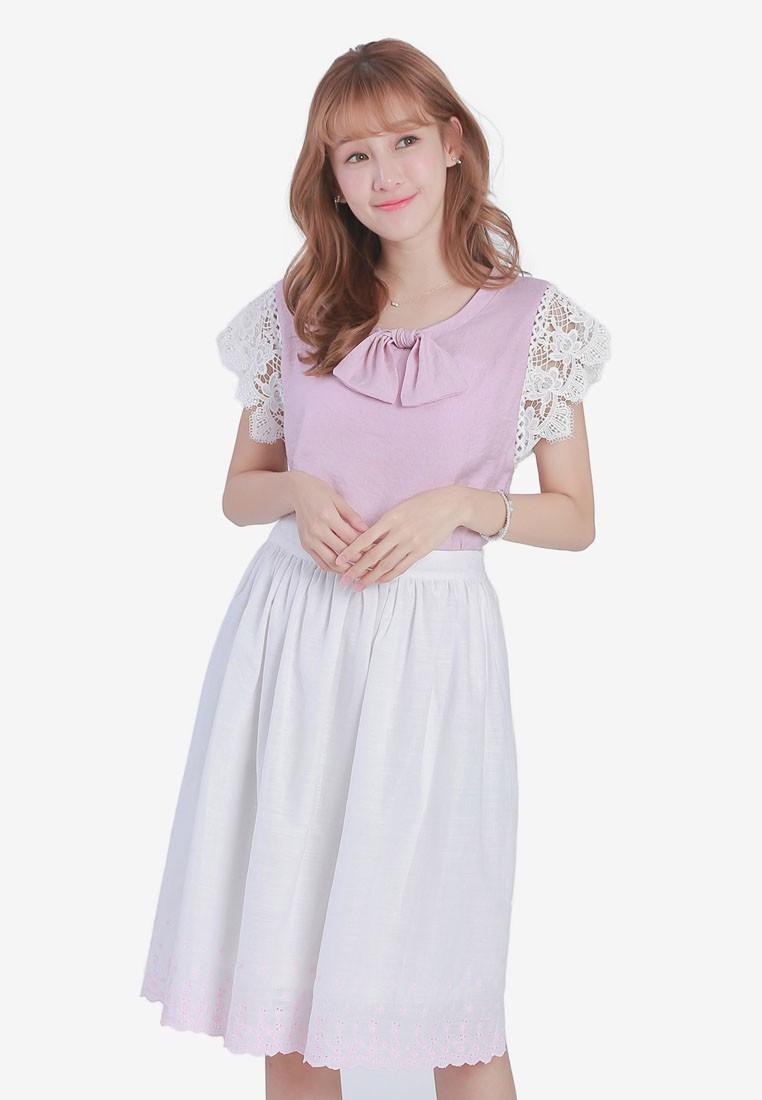 Midi Skirt with Embroidered Hem
