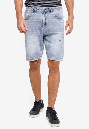 UniqTee blue Ripped Carrot Short Jeans F1EB1AA5D443D1GS_1