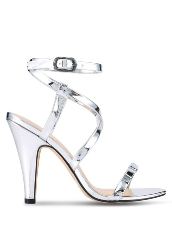 ZALORA silver Metallic PU Heeled Sandals 68E08SHCA10921GS_1