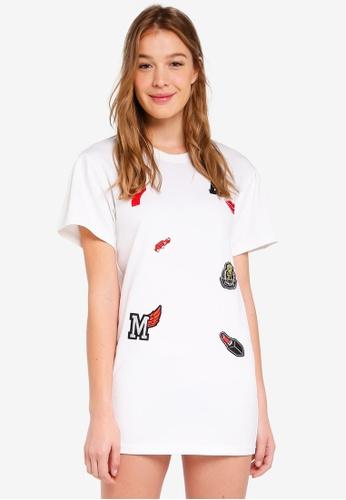 Hopeshow white Patches T-Shirt Dress EA415AAC6C6204GS_1
