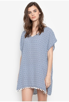 Gray Goods navy Geline V-Neck Beach Cover Up with Pom Poms  B0C12AAC45B370GS_1