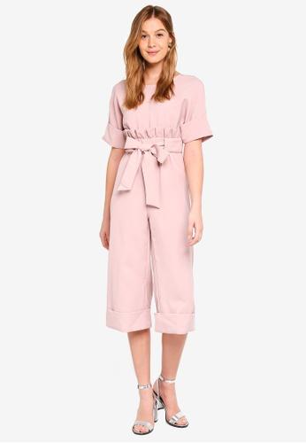 LOST INK pink Frill Tie Waist Jumpsuit F899FAA47BFBAAGS_1
