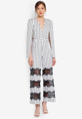 a4048202933 Lavish Alice white and multi Stripe Lace Insert Cape Jumpsuit  AA648AA67D4FCEGS 1