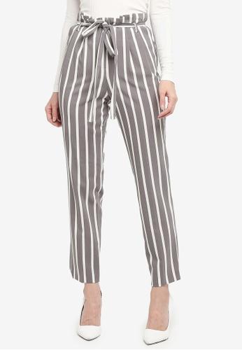 Miss Selfridge grey Grey Stripe Paperbag Trousers 8C52AAA5B16DD7GS_1