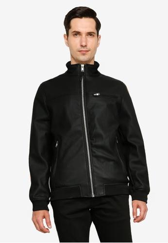 Springfield black Faux Leather Biker Jacket 49FDEAAD9CD114GS_1