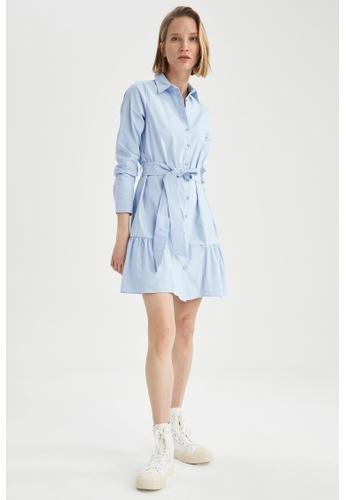 DeFacto blue Long Sleeve Mini Dress 6C136AA70E1869GS_1