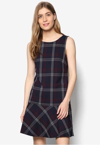 格紋無袖迷你連身裙、 服飾、 洋裝ESPRIT格紋無袖迷你連身裙最新折價