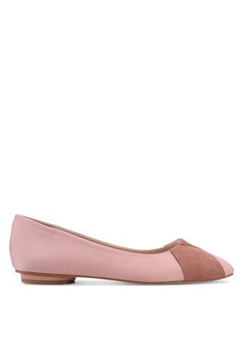 ZALORA 粉紅色 Mixed Materials Ballerinas 6F15BSH4E5655CGS_1
