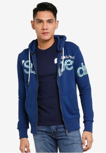Superdry blue Core Split Logo Zip Hoodie E8F96AA5D7E152GS_1
